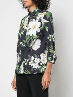 Carolina Herrera - Classic Black Multi Stretch Cotton Printed Blouse