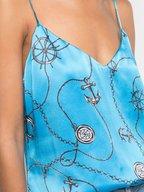 L'Agence - Jane Blue Silk Anchor Print Cami