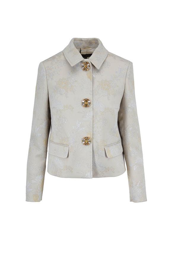 Escada Benly Beige Brocade Jewel Button Jacket