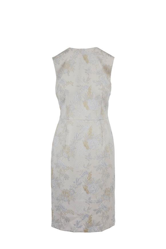 Escada Dahnia Beige Brocade Sleeveless Dress