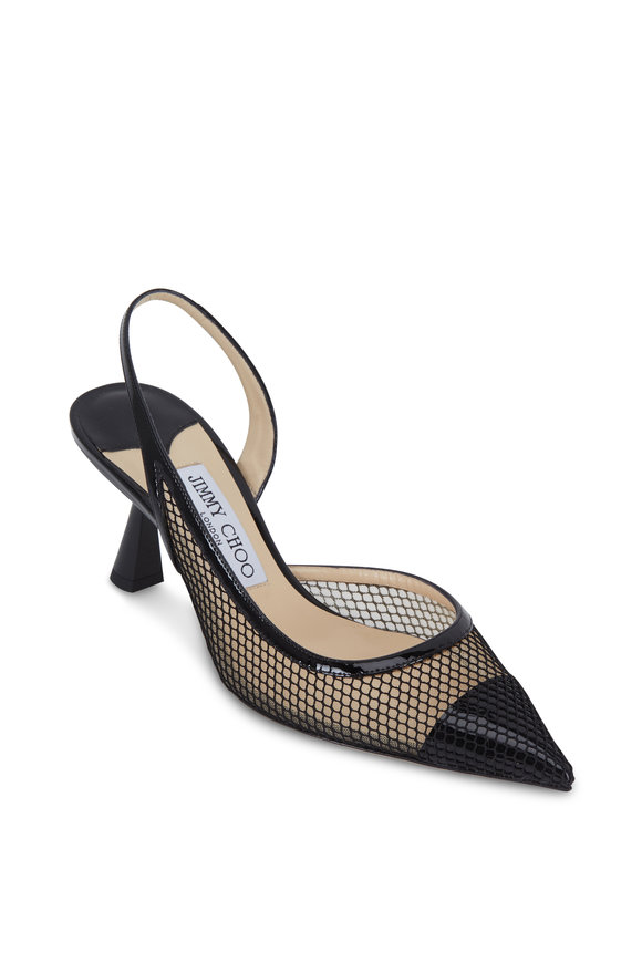 Jimmy Choo Fetto Black Mesh & Patent Leather Slingback, 65mm