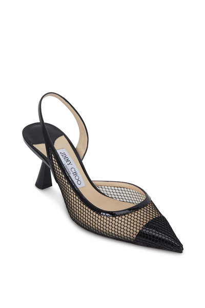 Jimmy Choo - Fetto Black Mesh & Patent Leather Slingback, 65mm