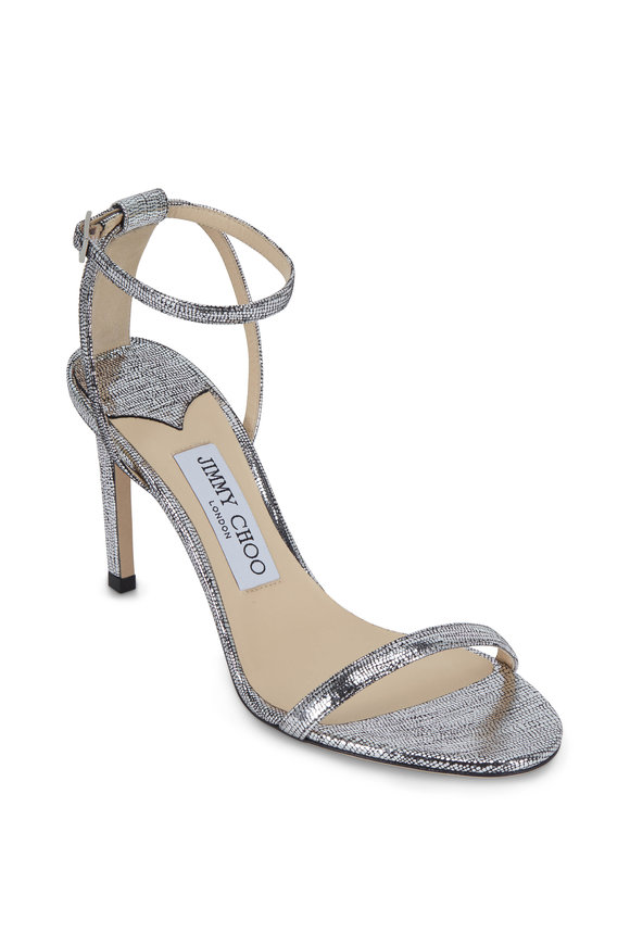 Jimmy Choo Minny Silver Metallic Lizard Print Sandal, 85mm