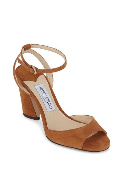 Jimmy Choo - Miranda Cognac Suede Sandal, 65mm