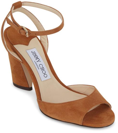 Jimmy Choo Miranda Cognac Suede Sandal, 65mm