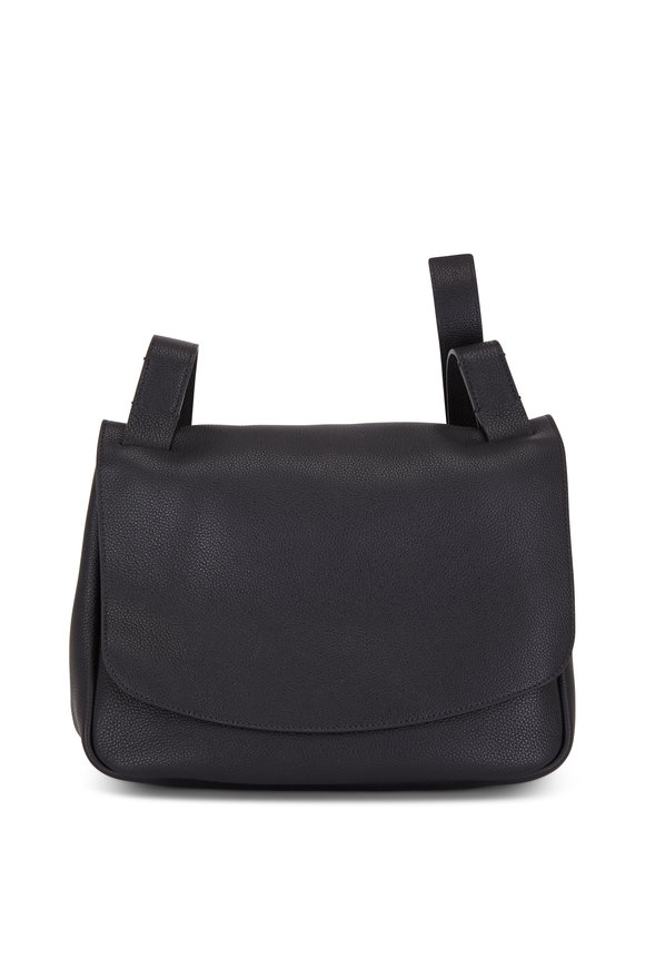 The Row Black Grained Leather Small Mail Bag