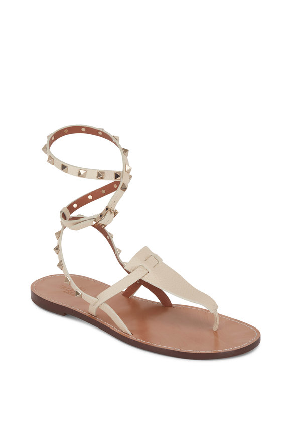 Valentino Garavani Rockstud Ivory Leather Strappy Thong Sandal