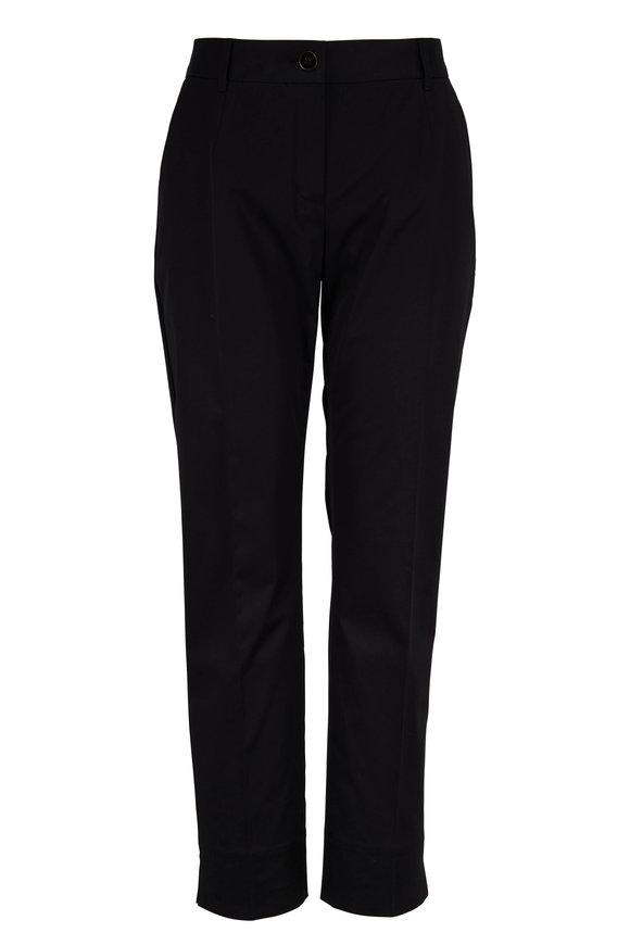 Dolce & Gabbana Black Stretch Cotton Poplin Cropped Pant