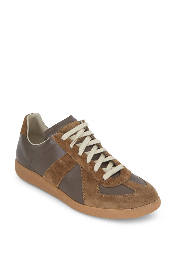 Maison Margiela Replica Dark Brown Leather & Suede Sneaker
