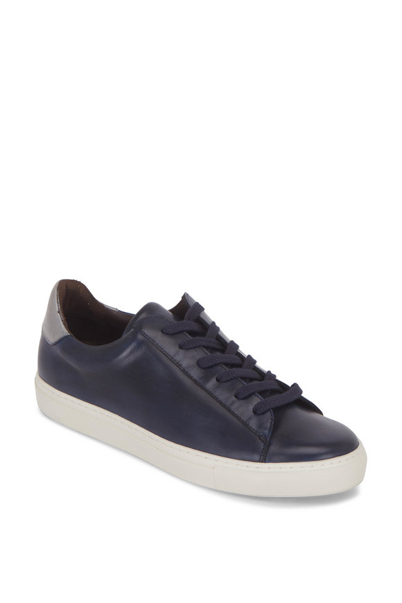 G Brown Court Navy Blue & Silver Leather Sneaker