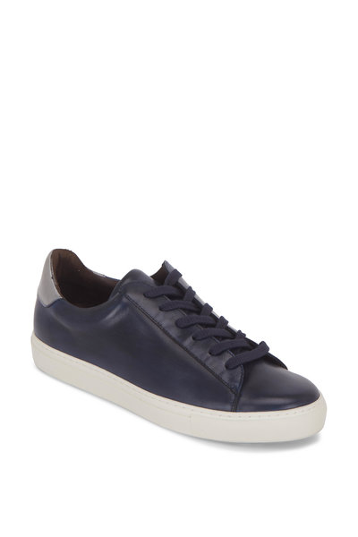 G Brown - Court Navy Blue & Silver Leather Sneaker