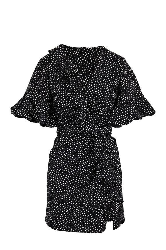 Jonathan Simkhai Black & White Speckled Print Flutter Sleeve Dress