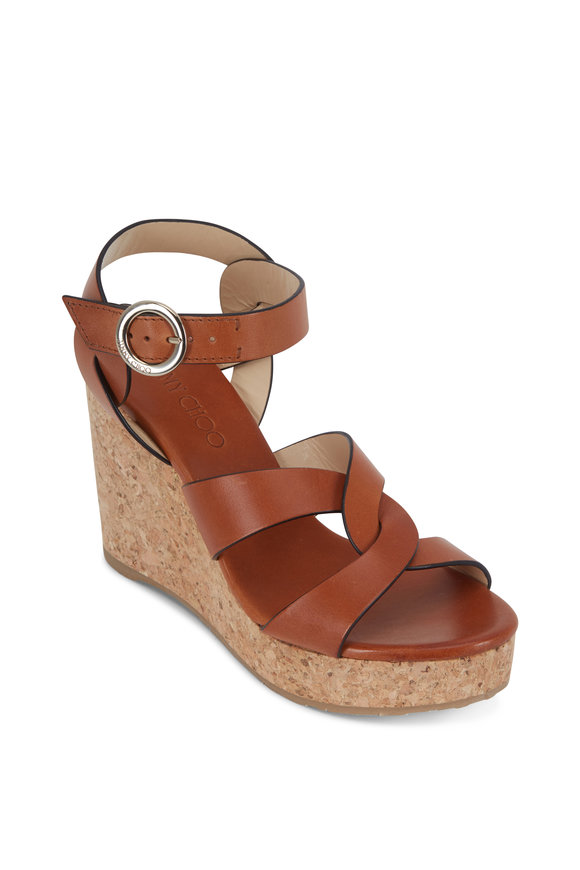 Jimmy Choo Aleili Cognac Criss-Cross Wedge Sandal, 100mm