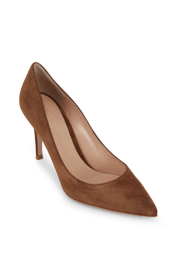 Gianvito Rossi Cognac Suede Pump, 85mm