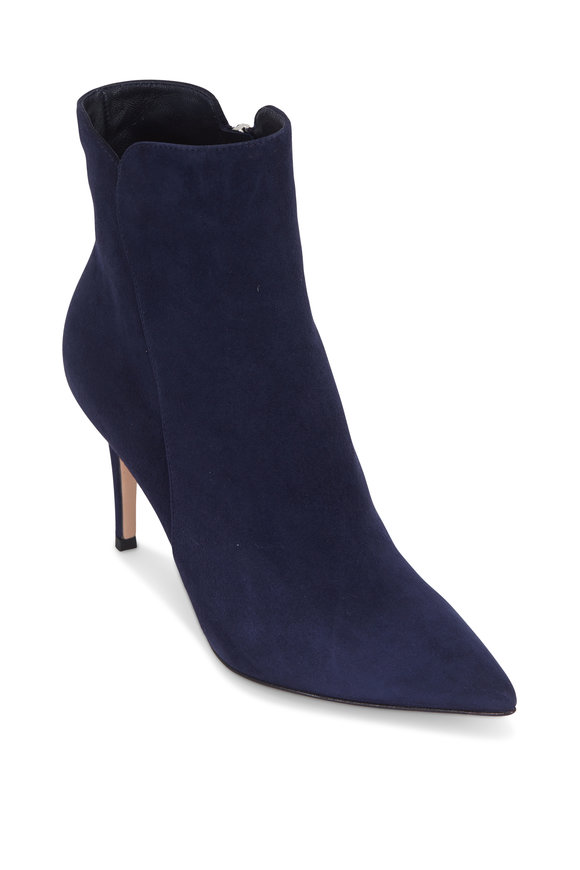 Gianvito Rossi Levy Navy Blue Suede Ankle Boot, 85mm