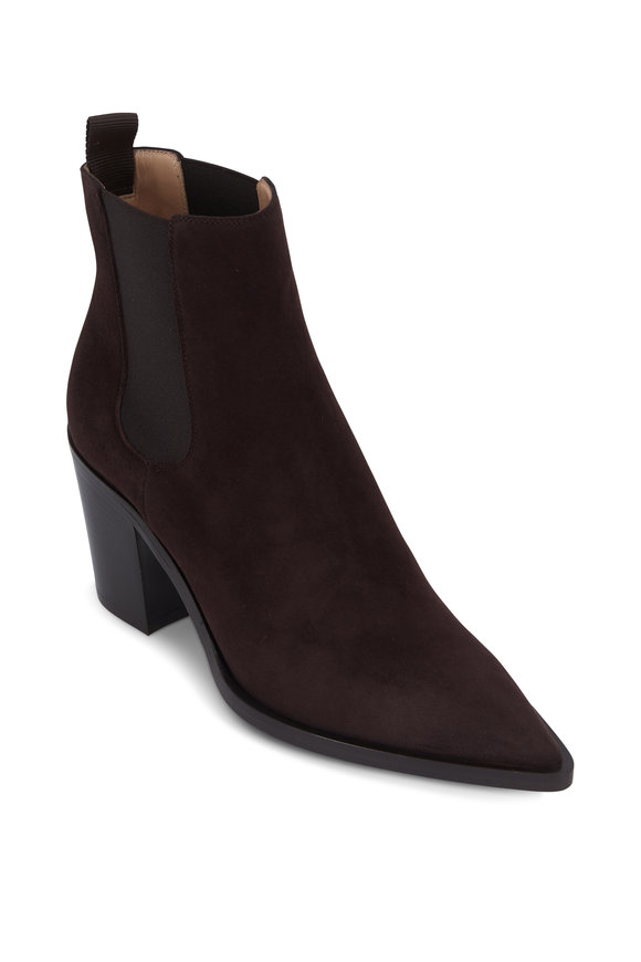 Gianvito Rossi Romney Moka Suede Double Gore Ankle Boot, 70mm