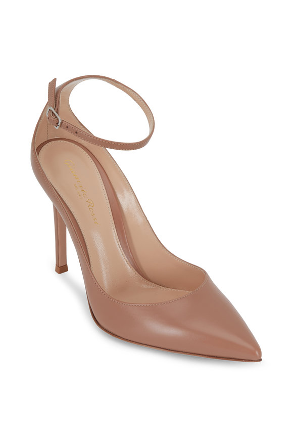 Gianvito Rossi Praline Blush Vitello Ankle Strap Pump, 105mm