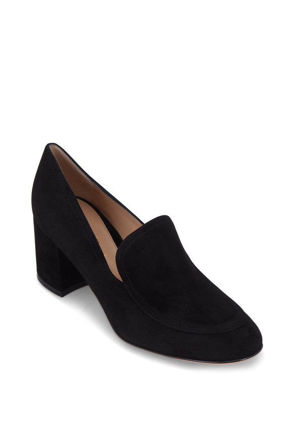 Gianvito Rossi Black Suede Chunky Heel Loafer, 60mm