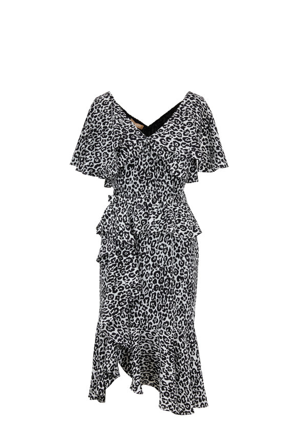 Michael Kors Collection Ivory & Black Crêpe Silk Ruffle Dress