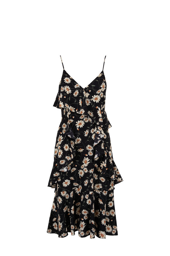 Michael Kors Collection Black & Ivory Daisy Print Ruffled Cami Dress