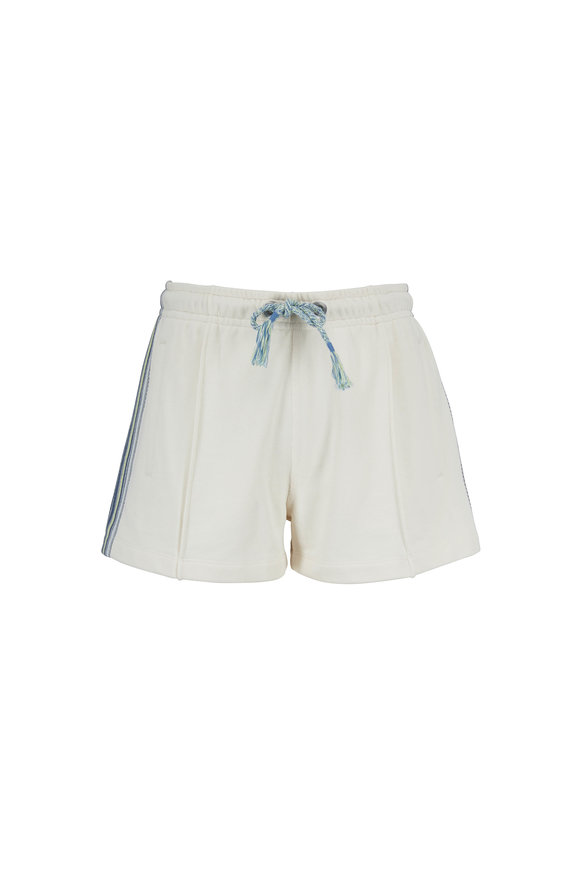Rag & Bone Molly Ivory Striped Trim Cotton Shorts