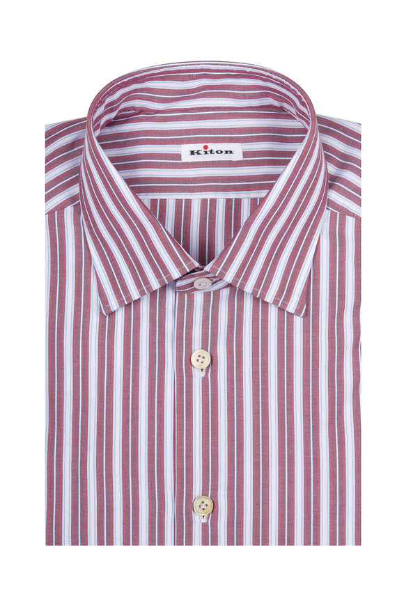 Kiton Red & Blue Striped Dress Shirt