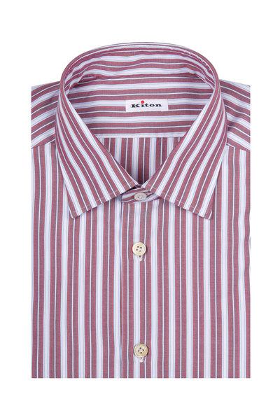 Kiton - Red & Blue Striped Dress Shirt