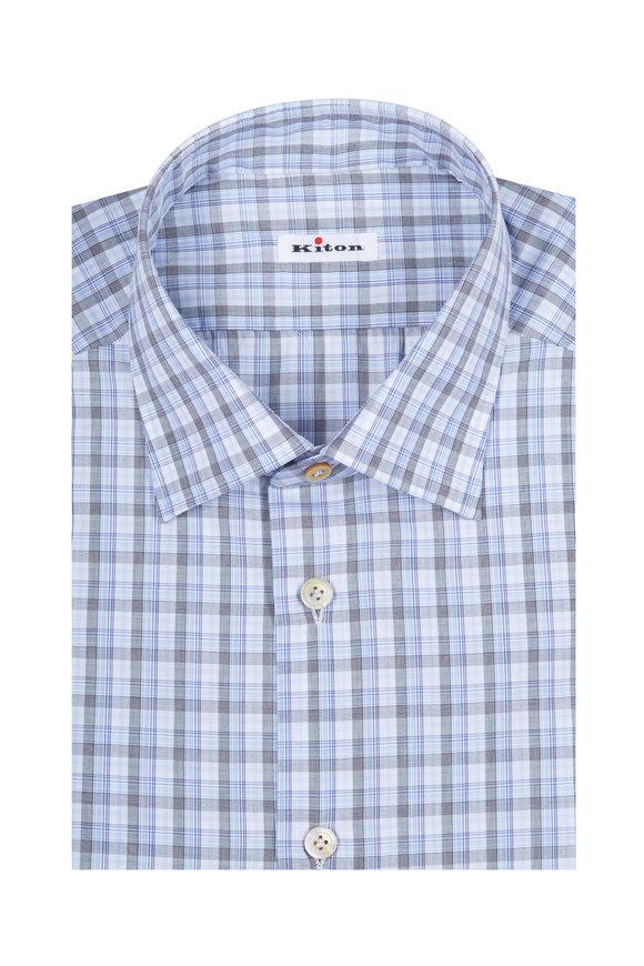 Kiton Grey & Blue Plaid Dress Shirt