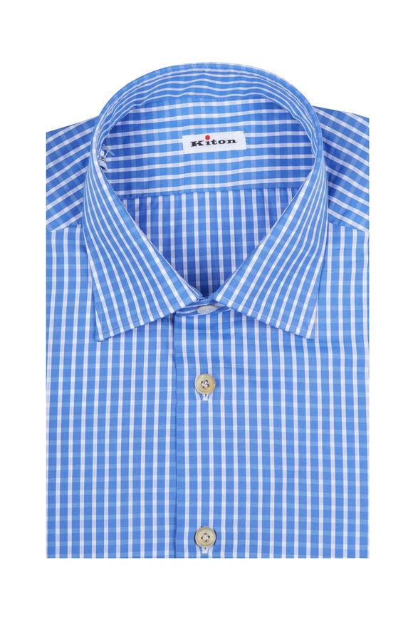 Kiton Dusty Blue Gingham Dress Shirt