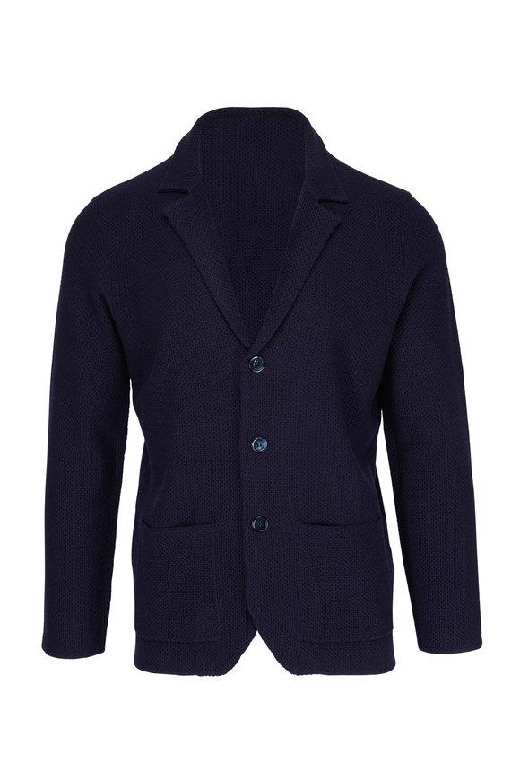 Isaia Navy Merino Sweater Jacket