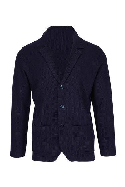 Isaia - Navy Merino Sweater Jacket