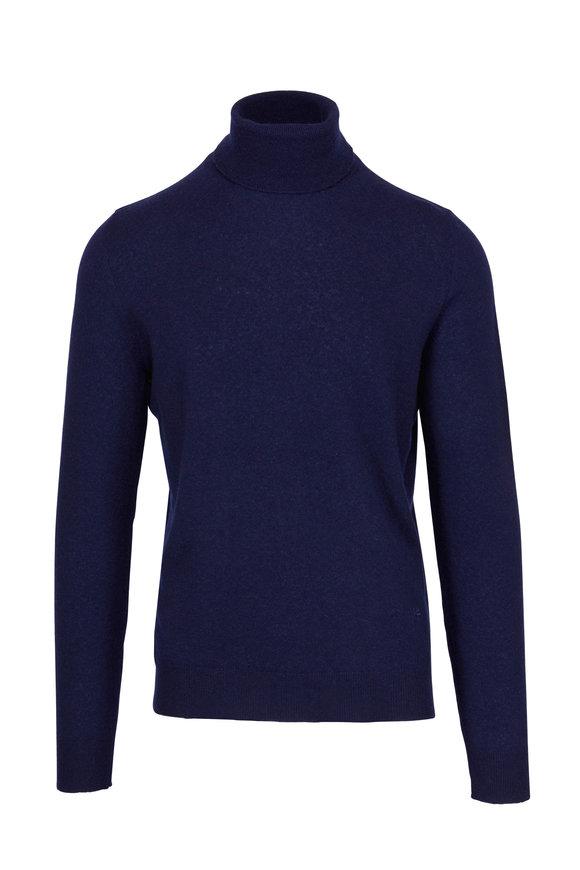 Isaia Navy Cashmere & Silk Turtleneck Sweater