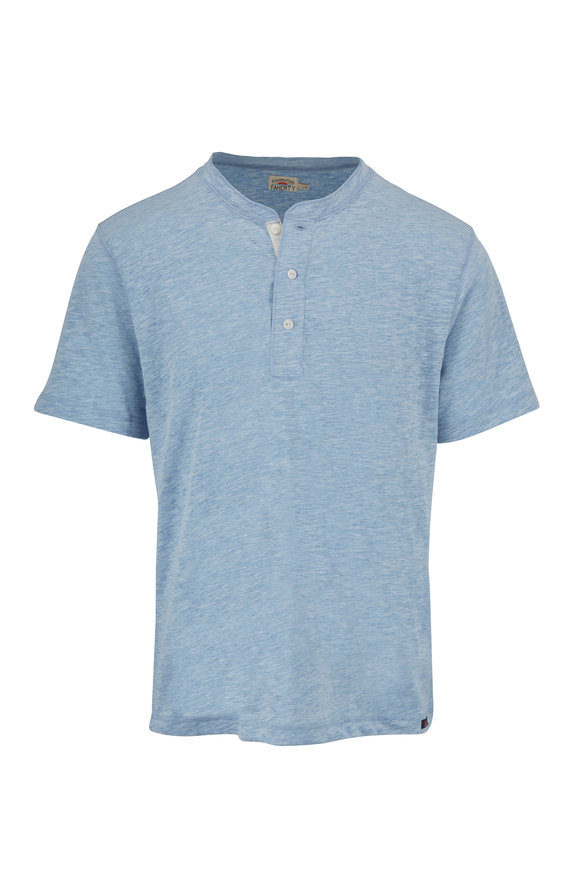 Faherty Brand Heathered Faded Denim Short Sleeve Henley