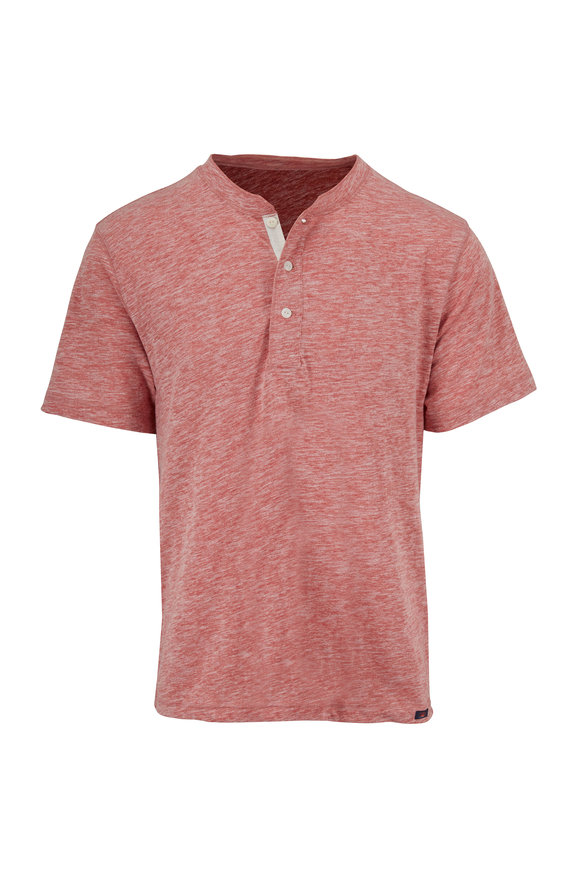 Faherty Brand Heathered Faded Red Short Sleeve Henley