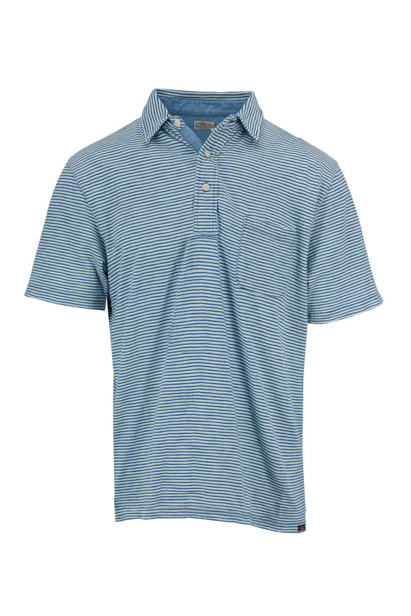 Faherty Brand Teal Indigo & White Pocket Polo