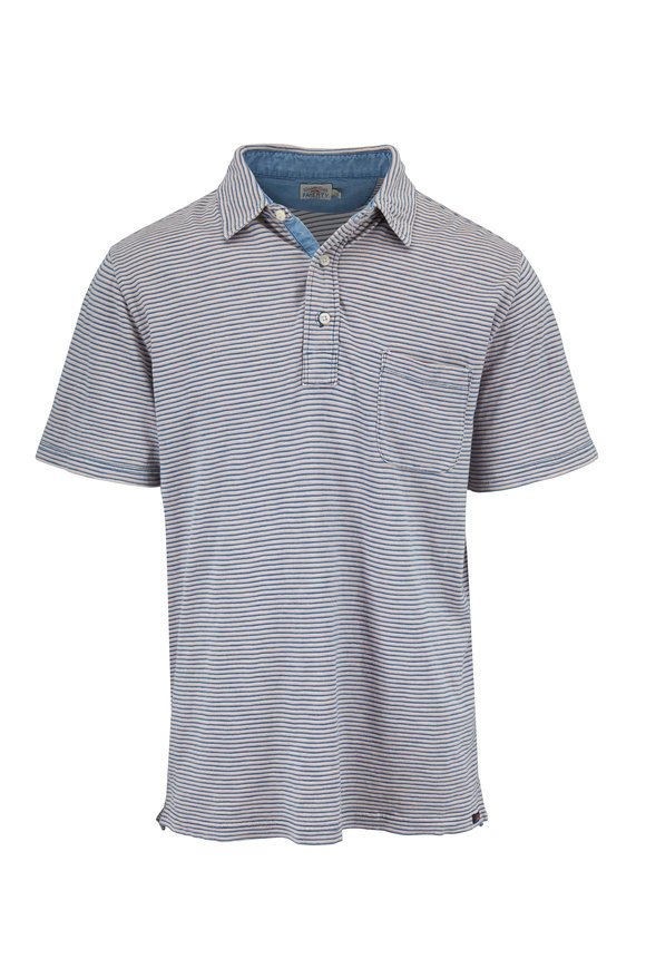 Faherty Brand Pink Indigo & White Pocket Polo
