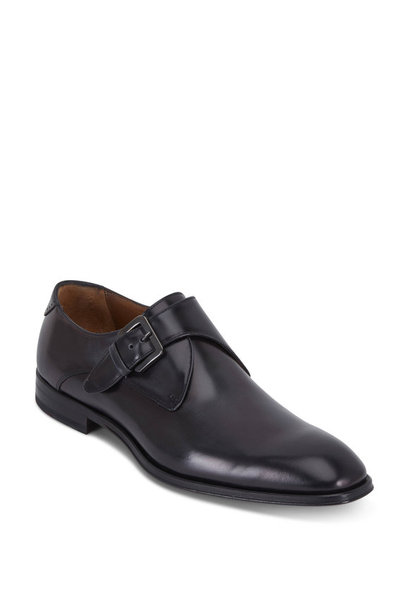 Bruno Magli Lucio Dark Gray Leather Monk Shoe