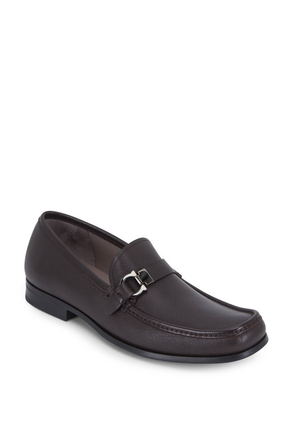 Salvatore Ferragamo Adam Hickory Pebbled Leather Bit Loafer