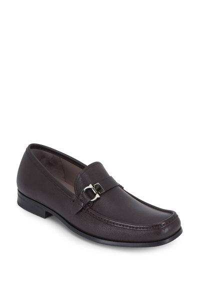 Salvatore Ferragamo - Adam Hickory Pebbled Leather Bit Loafer