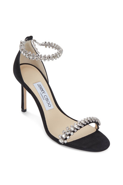 Jimmy Choo - Shiloh Black Suede Jeweled Sandal, 85mm