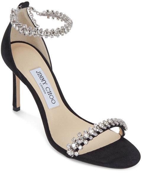 Jimmy Choo Shiloh Black Suede Jeweled Sandal, 85mm