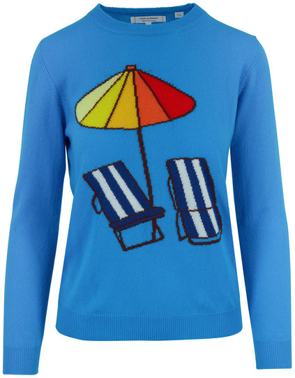 Chinti & Parker Turquoise Beach Chair & Umbrella Cashmere Sweater