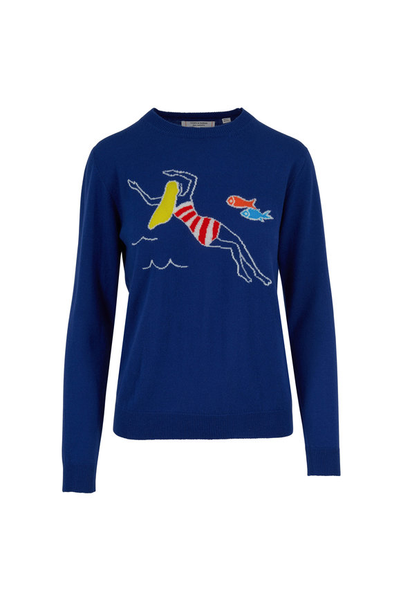 Chinti & Parker French Navy Swimmer & Fish Cashmere Sweater