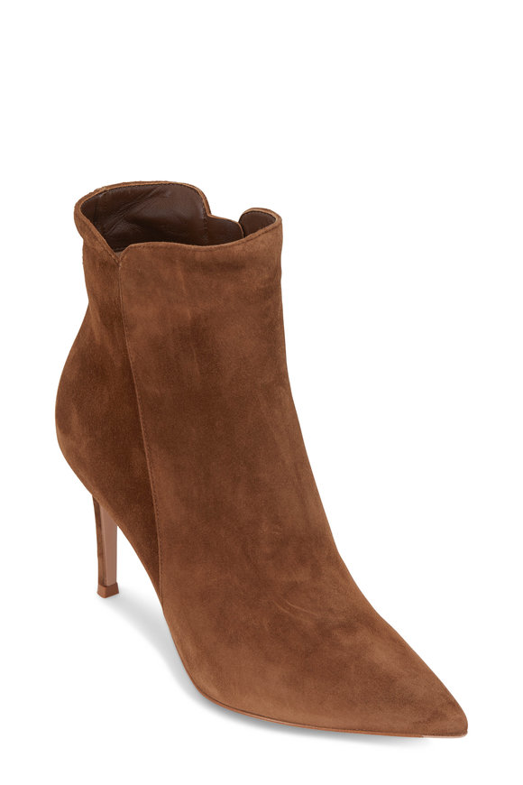 Gianvito Rossi Levy Texas Cognac Suede Ankle Boot, 85mm