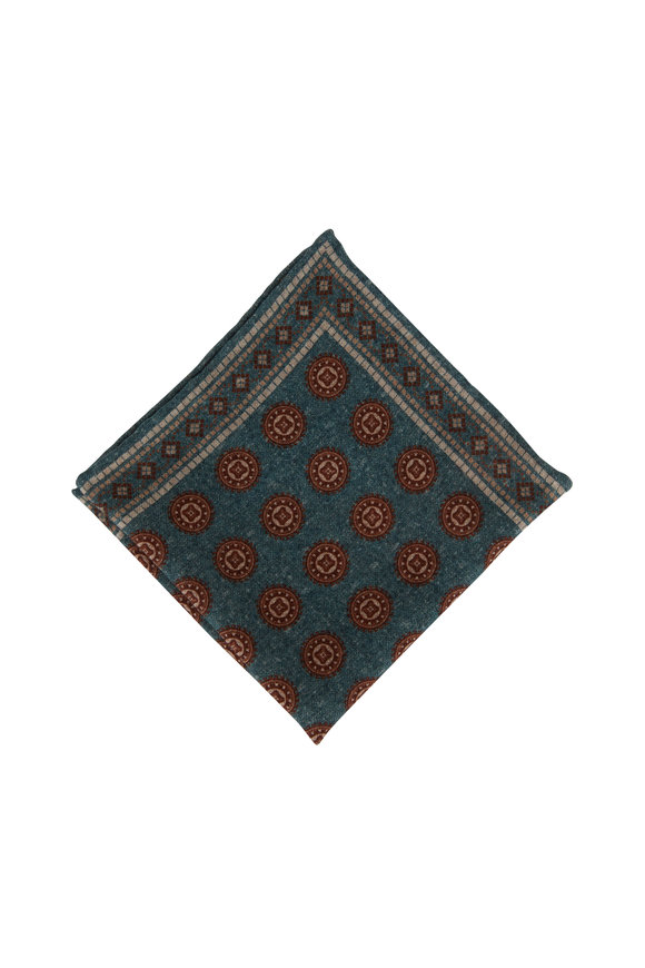 Brunello Cucinelli Green Geometric Print Wool Pocket Square