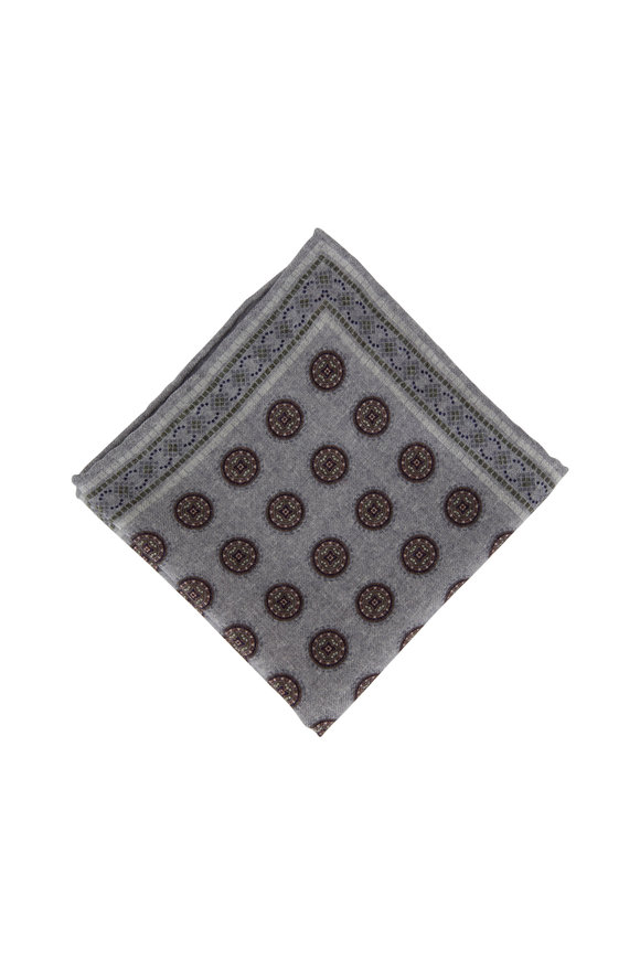 Brunello Cucinelli Gray Geometric Wool Pocket Square