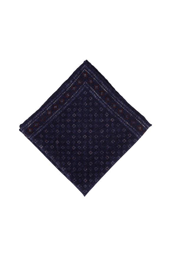 Brunello Cucinelli Dark Blue Square & Dot Wool Pocket Square