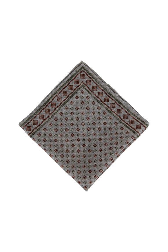 Brunello Cucinelli Pebble Square & Dot Wool Pocket Square