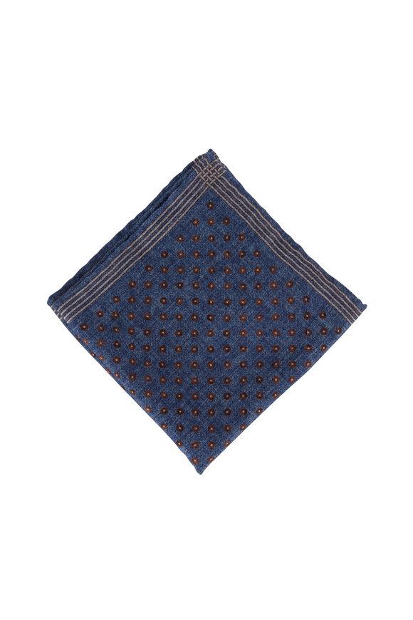 Brunello Cucinelli Blue Square & Dot Wool Pocket Square