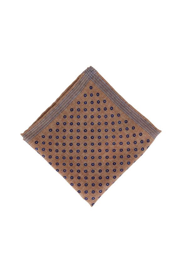 Brunello Cucinelli Brown Square & Dot Wool Pocket Square